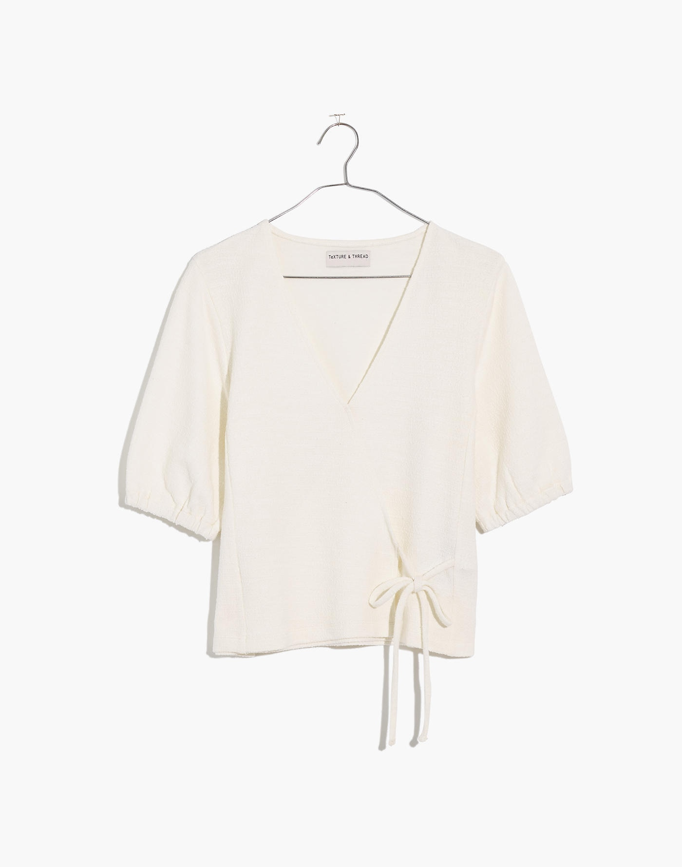 Ivory Puff Sleeve Wrap Top