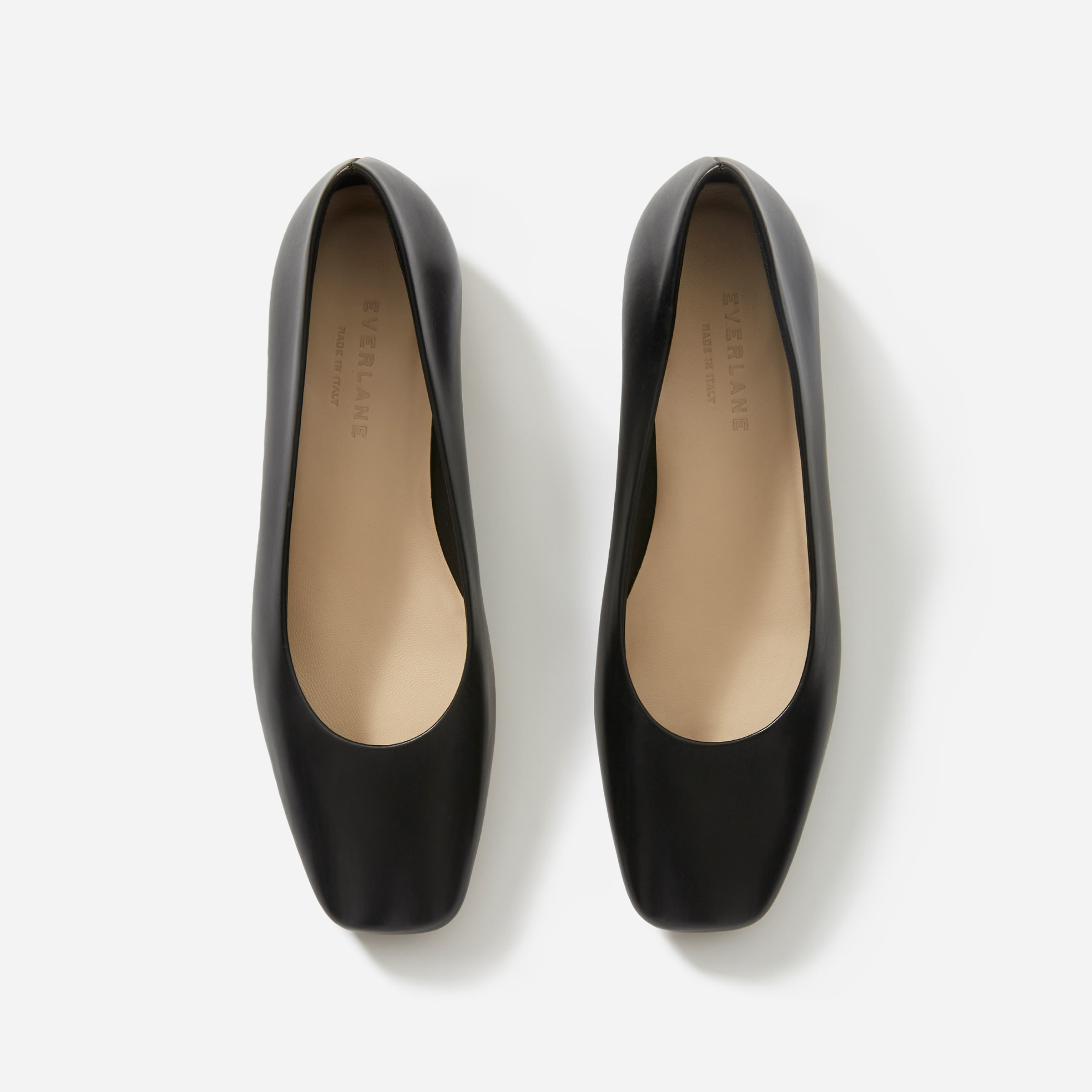 Black Square Toe Flats