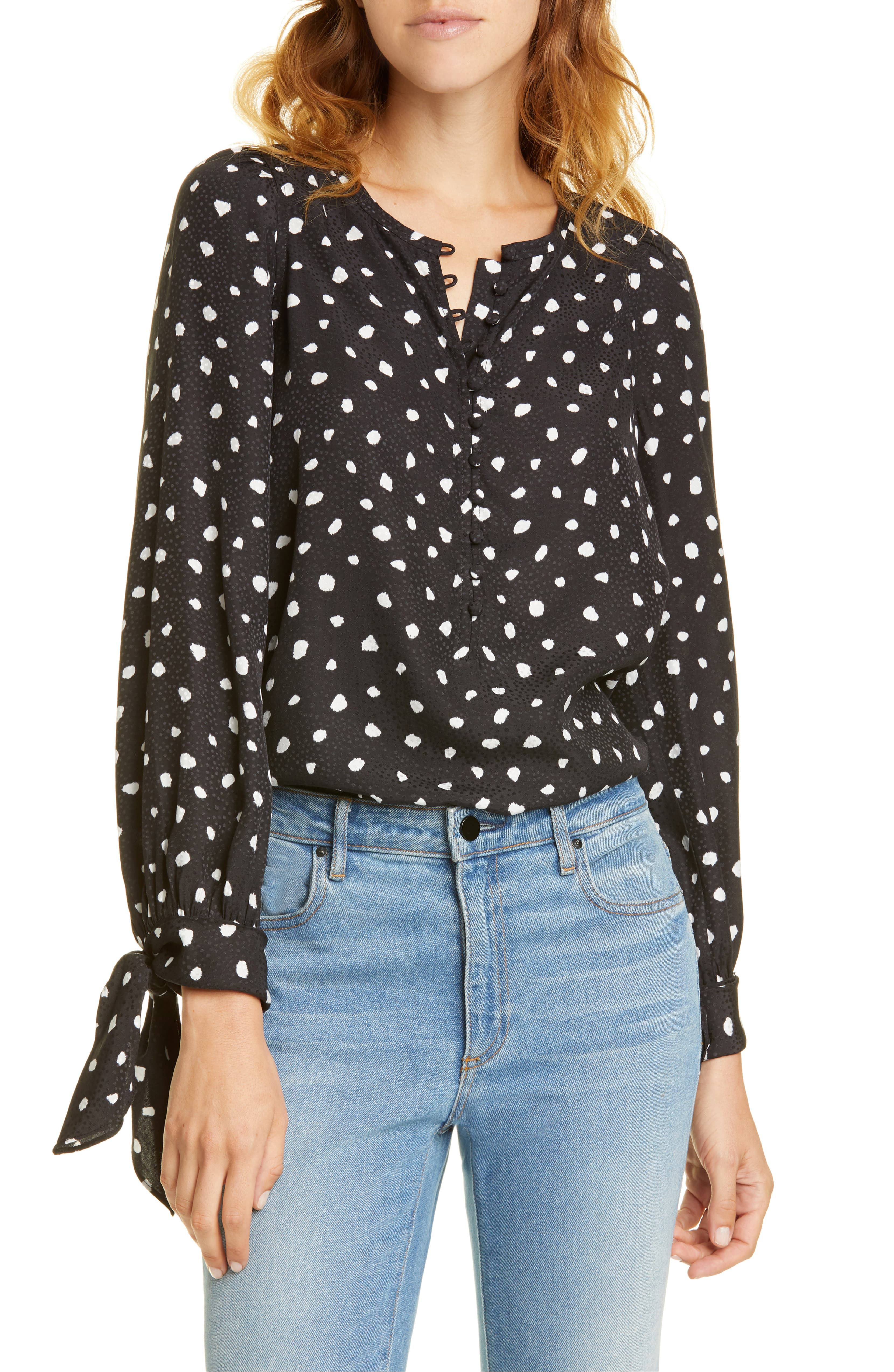 Black and White Spots Silk Blouse