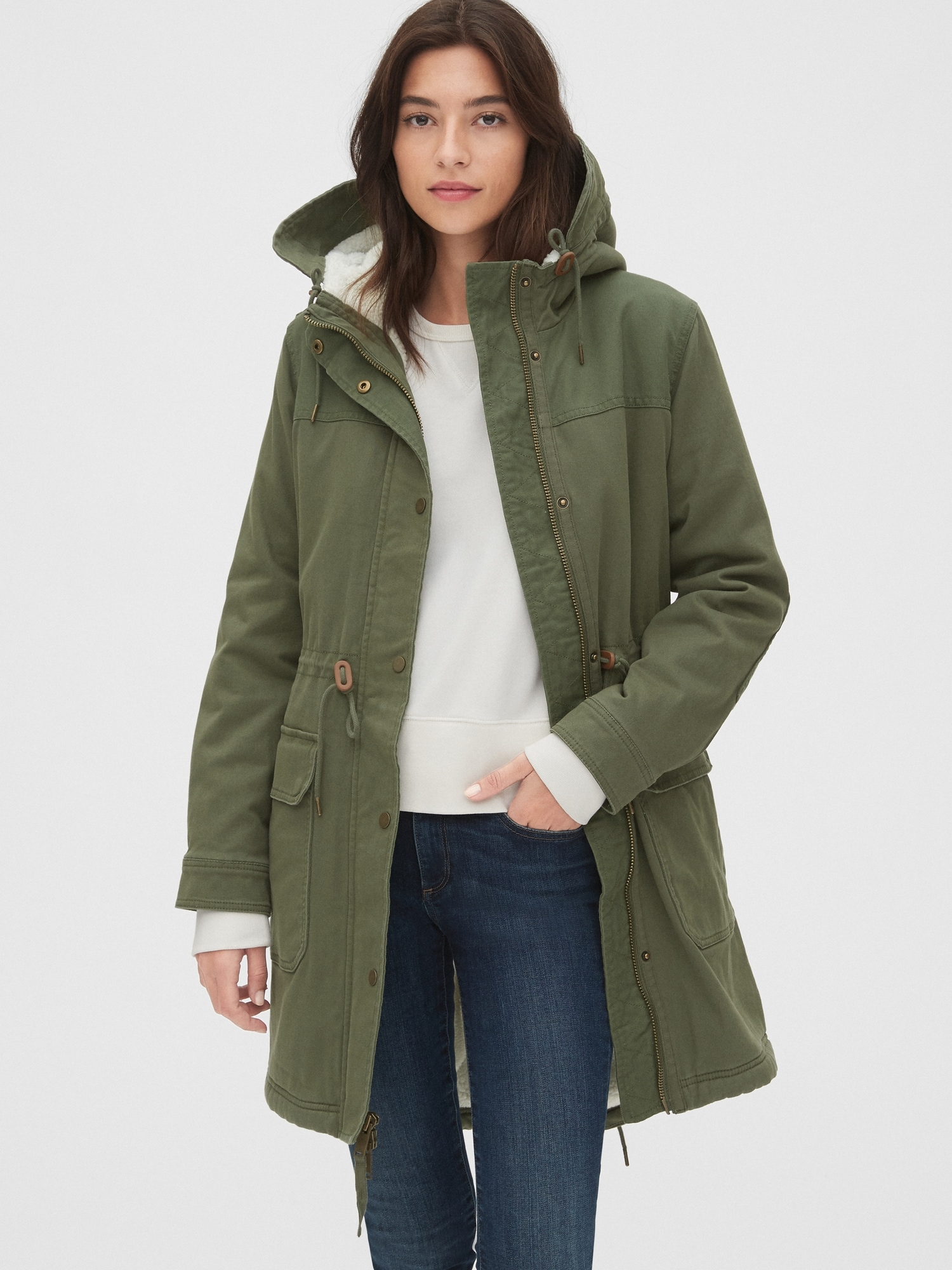 Olive Green Faux Sherpa Lining Parka