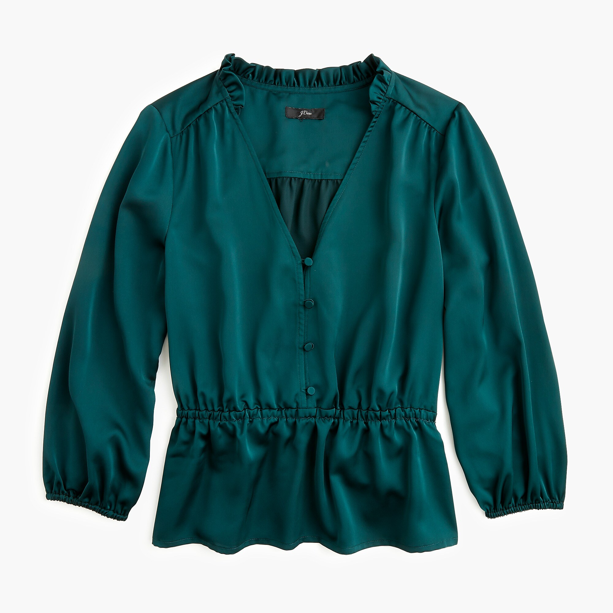 Green Peplum V-Neck Blouse