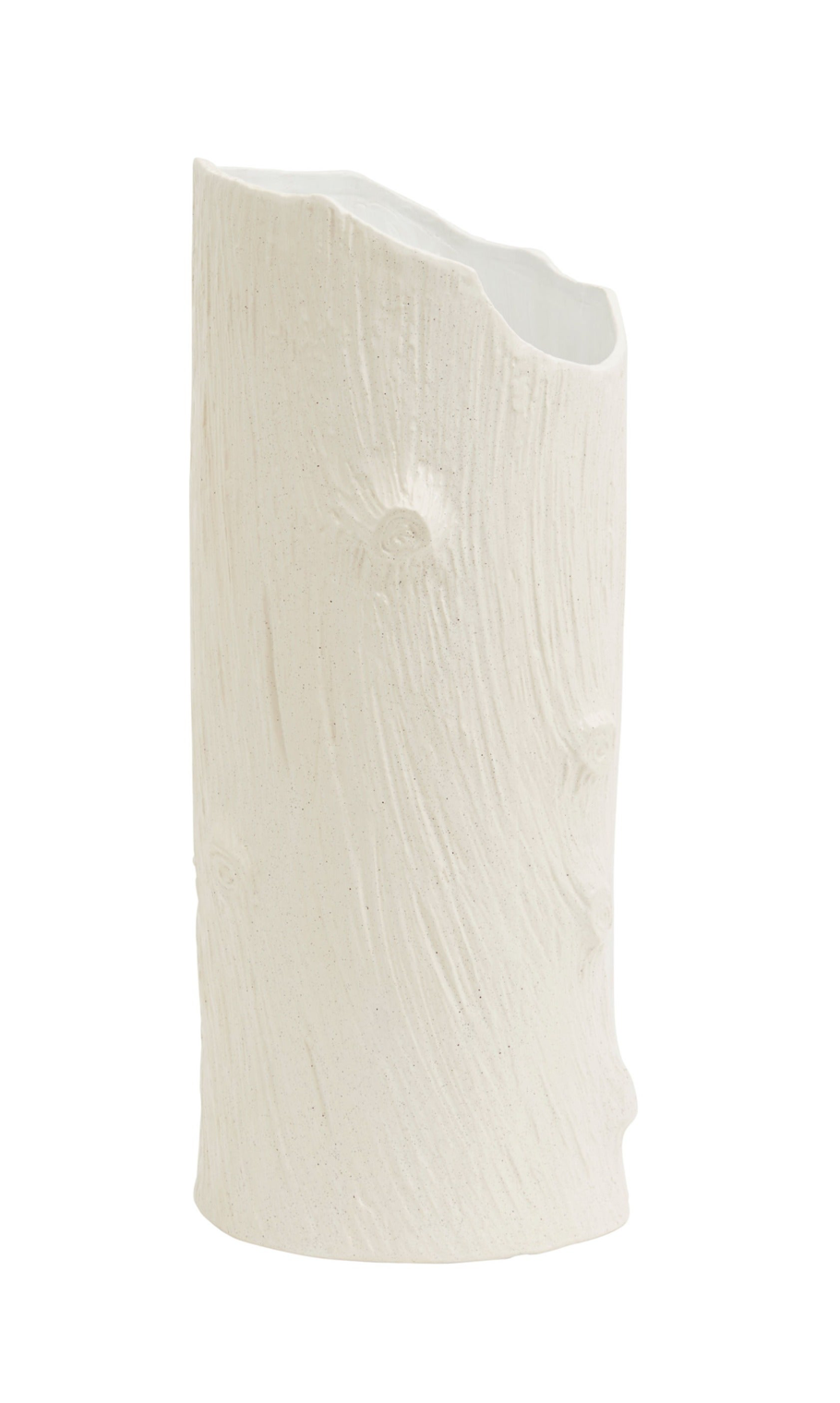 White Faux Bois Wood Ceramic Vase