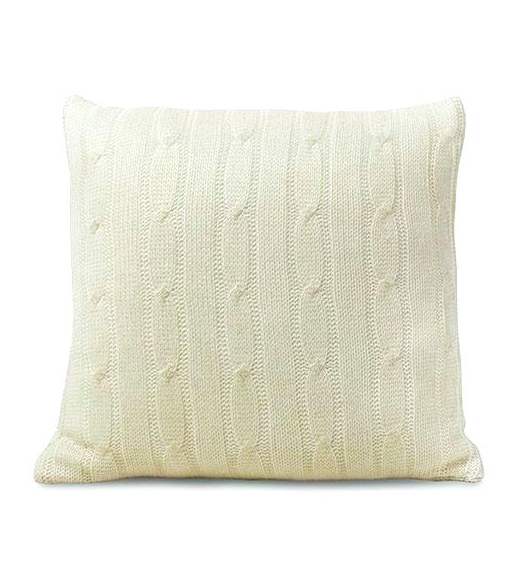 Ivory Cable Knit Throw Pillow White