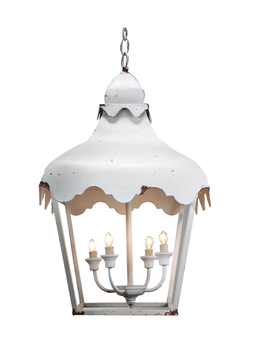 White Scalloped Metal Lantern Chandelier