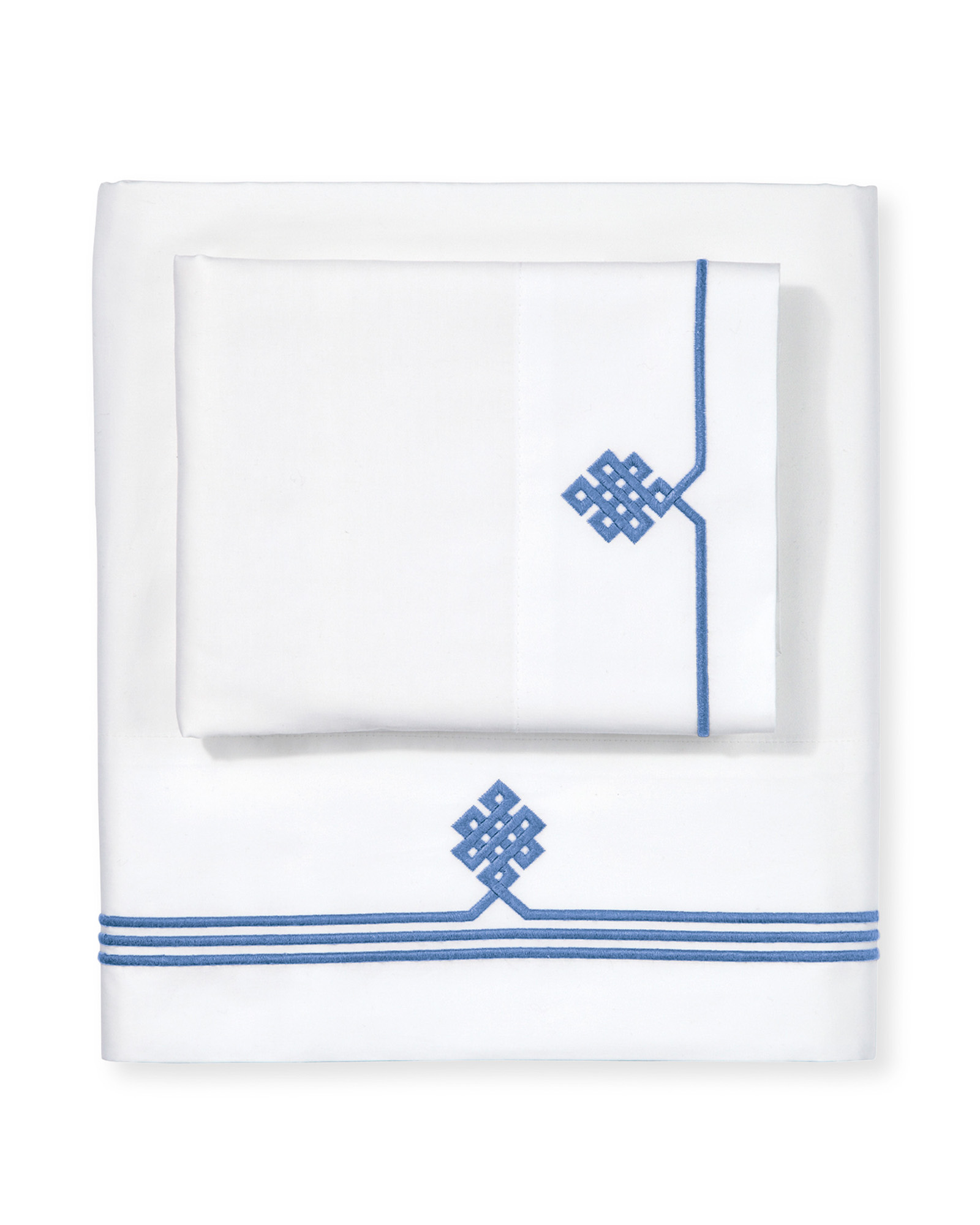 White and Blue Embroidered French Knot Sheet Set