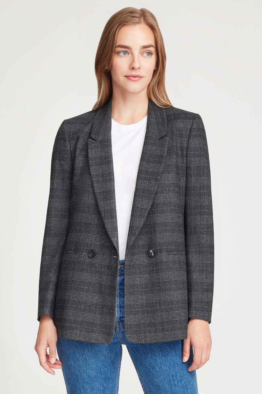 Wool Double Breasted Plaid Blazer