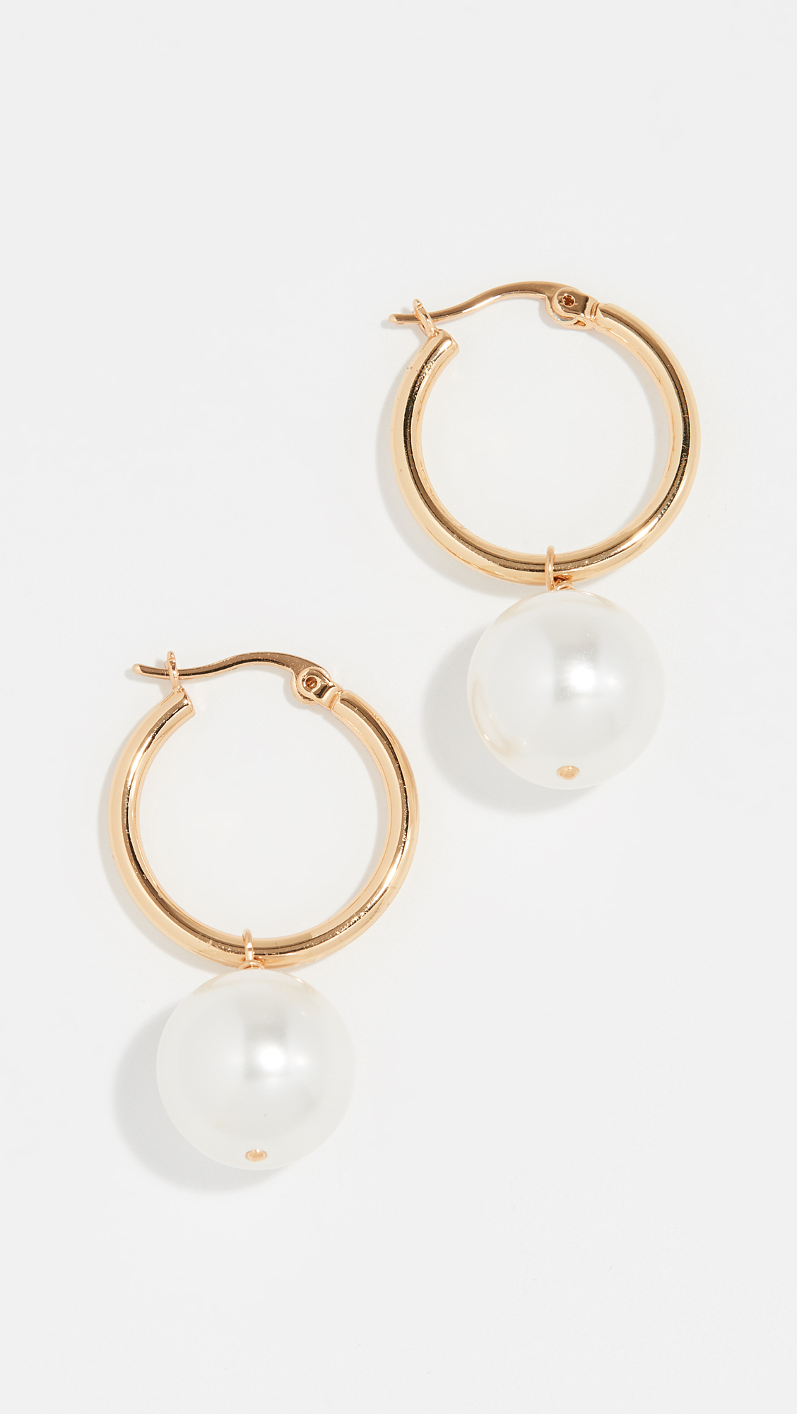 Gold Hoop and Pearl Earrings