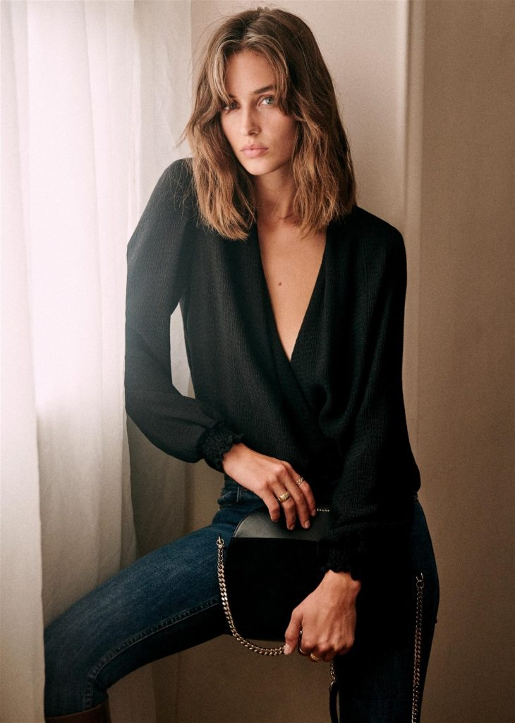 Abelia Black Wrap Blouse Sezane Paris