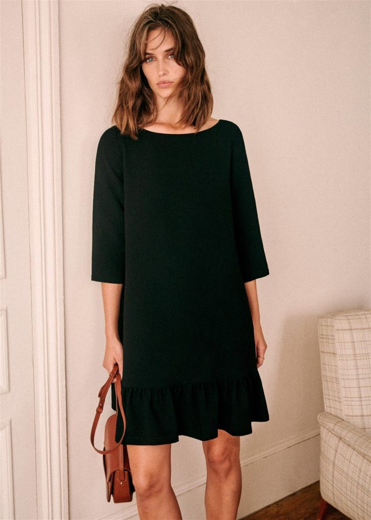 Auberie Black Dress with Ruffle Hem by Sezane Paris