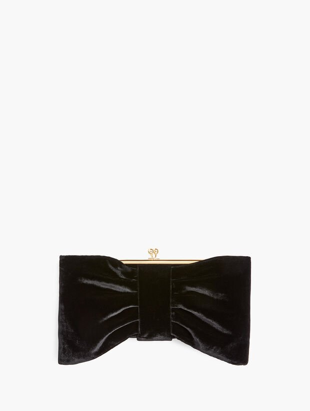 Black Velvet Bow Clutch