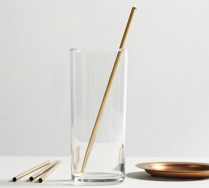 Gold Colored Metal Straw Set