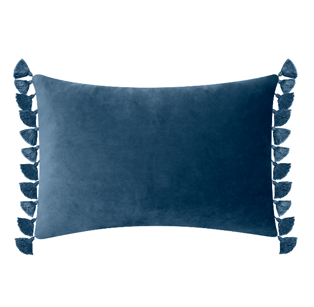 Blue Velvet Tassel Pillow