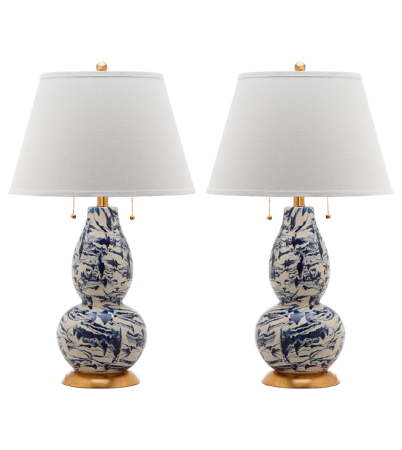 Blue and White Swirl Gourd Table Lamps Pair