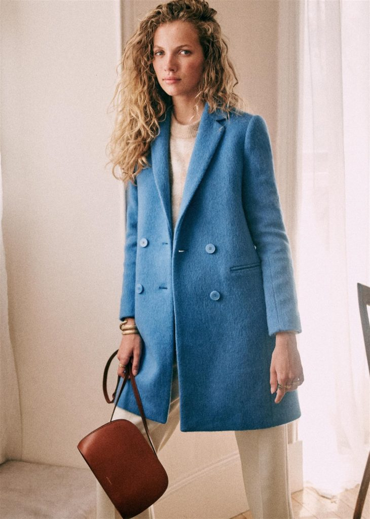 Bright Blue Wool Winter Coat by Sezane Paris