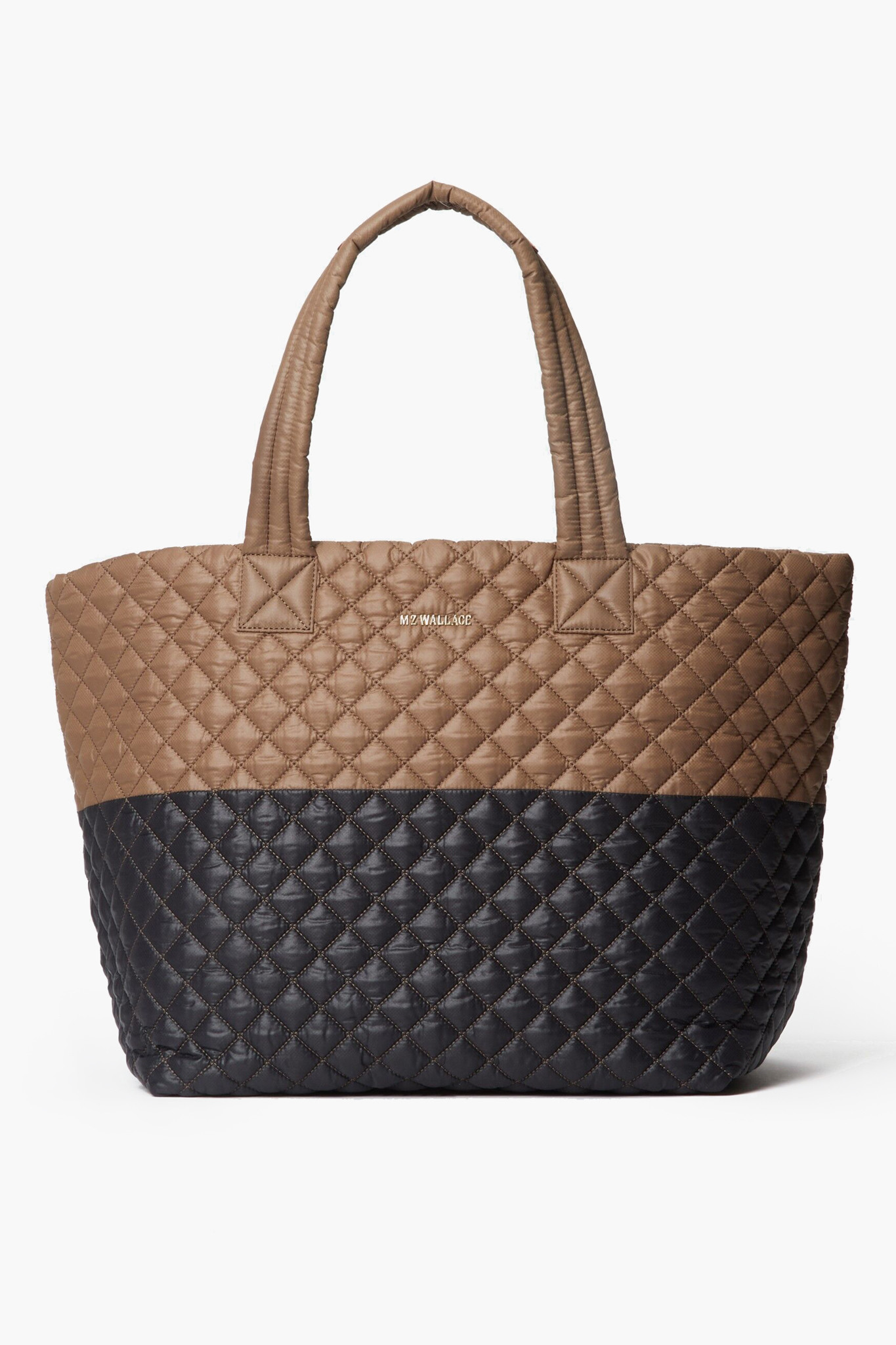 Tan and Navy Quilted Tote