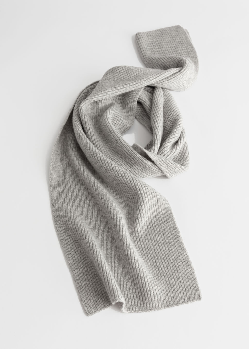 Gray Cashmere Knit Scarf