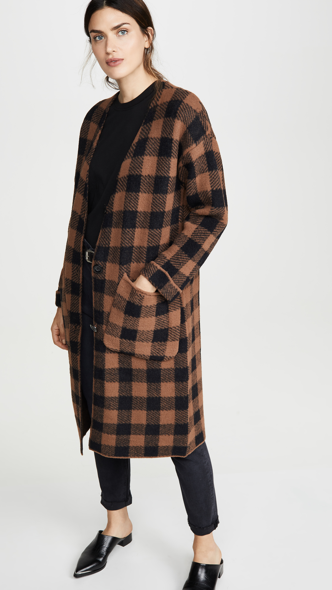 Black and Brown Check Cardigan