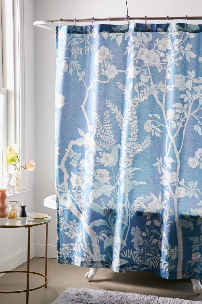 Chinoiserie Shower Curtain Blue Floral