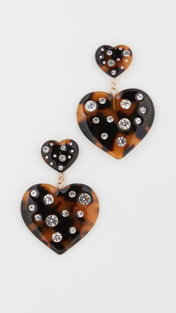 Tortoise Heart Earrings
