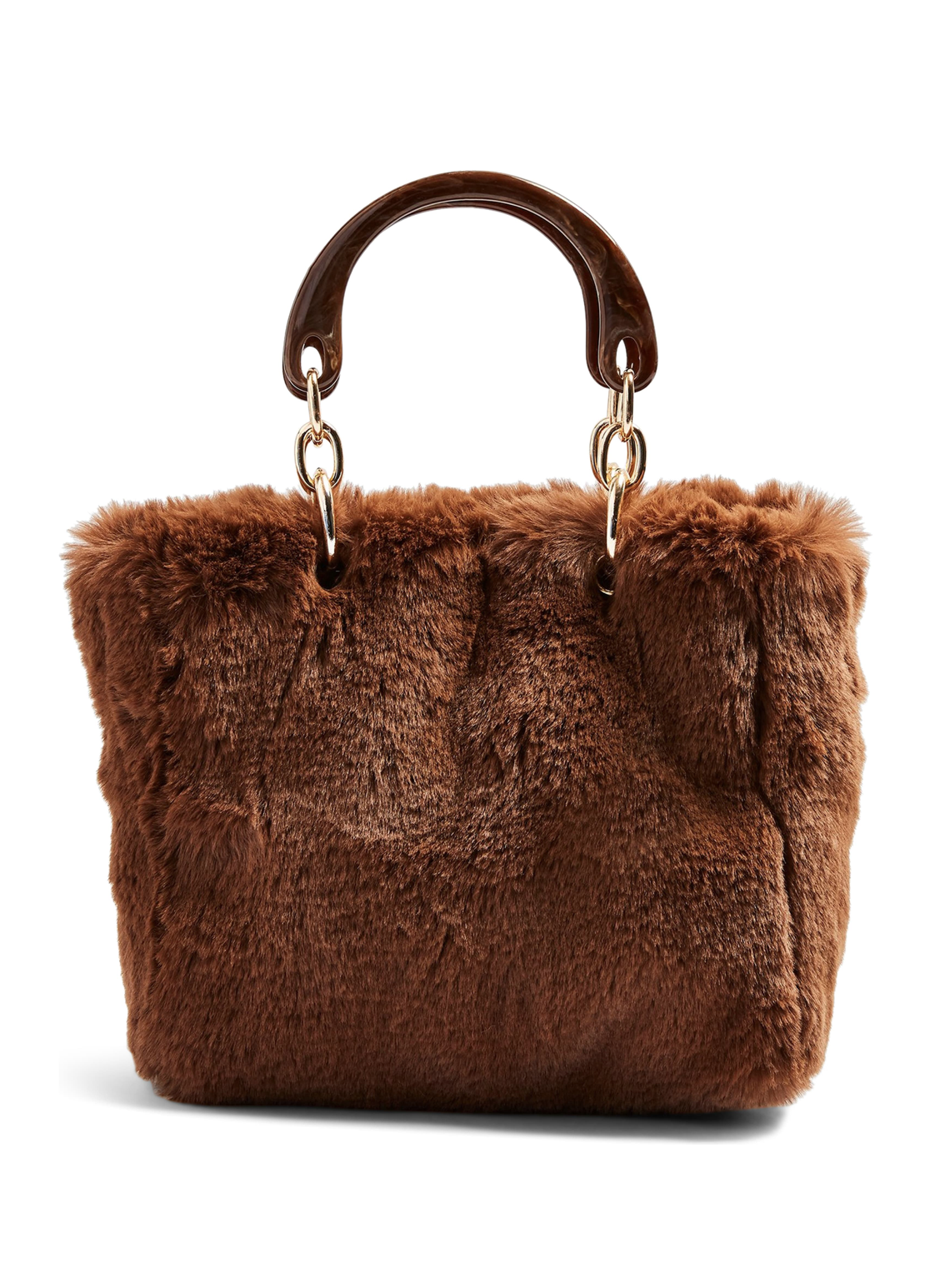 Faux Fur Top Handle Bag