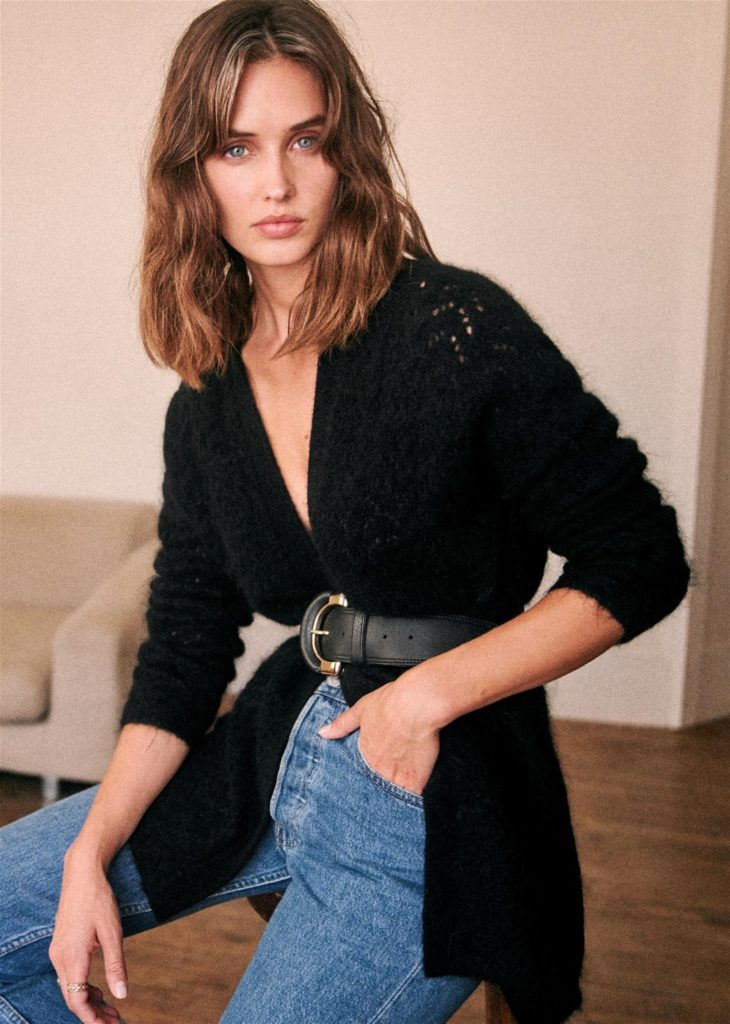 Georges Jumper love this long black cardigan sweater by Sezane Paris