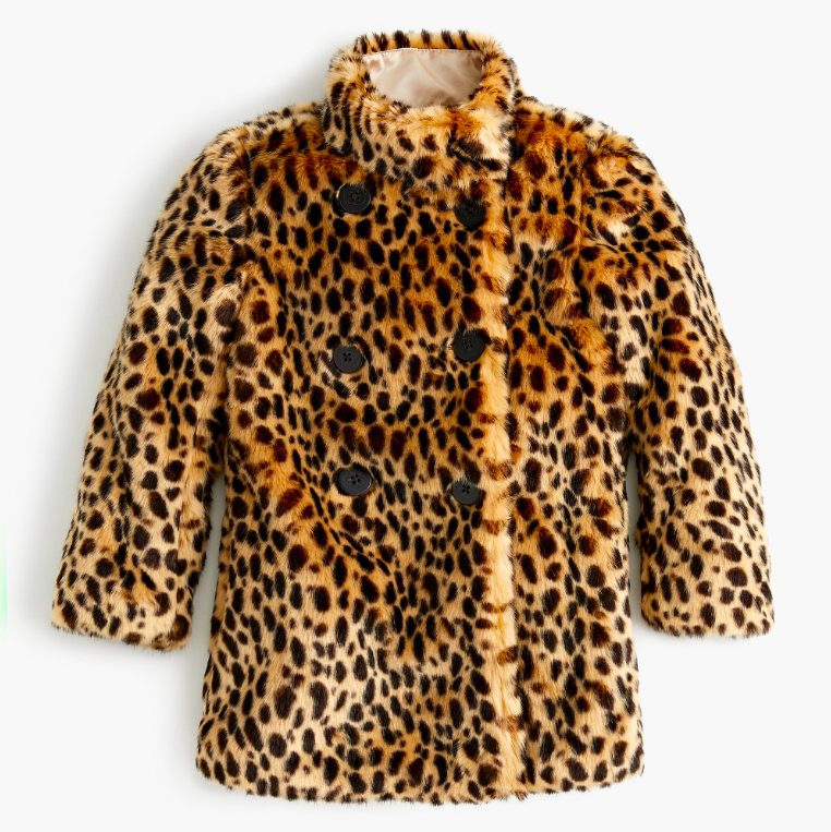 Girls' Leopard Print Faux Fur Coat