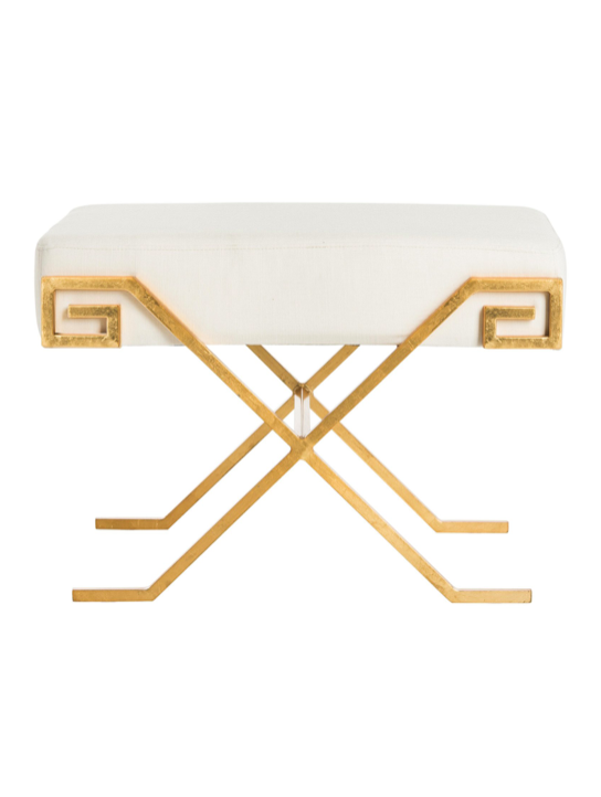 Greek Key Bench Gold White Brass