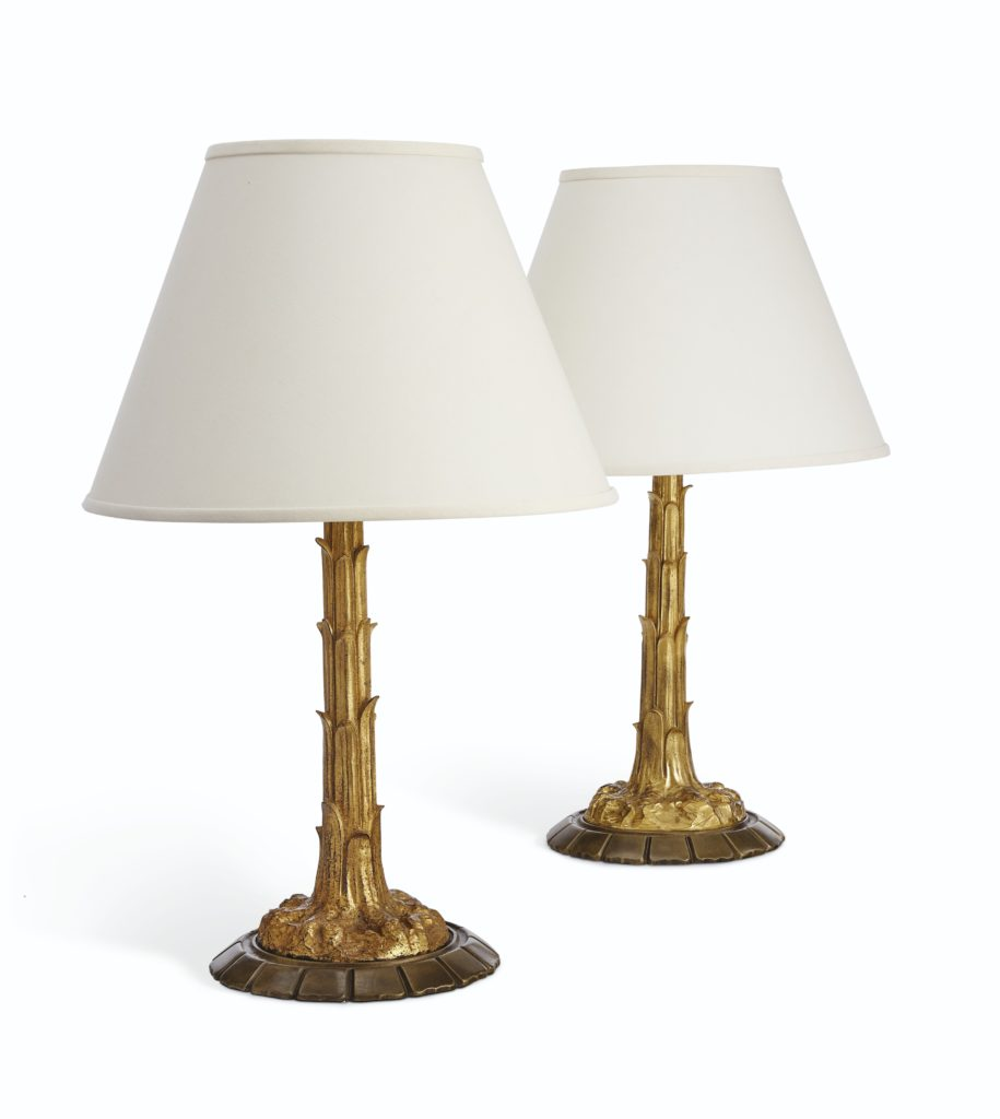 Golden Palm Gilt and Patinated Bronze Lamps Lee Radziwill Auction Christie's