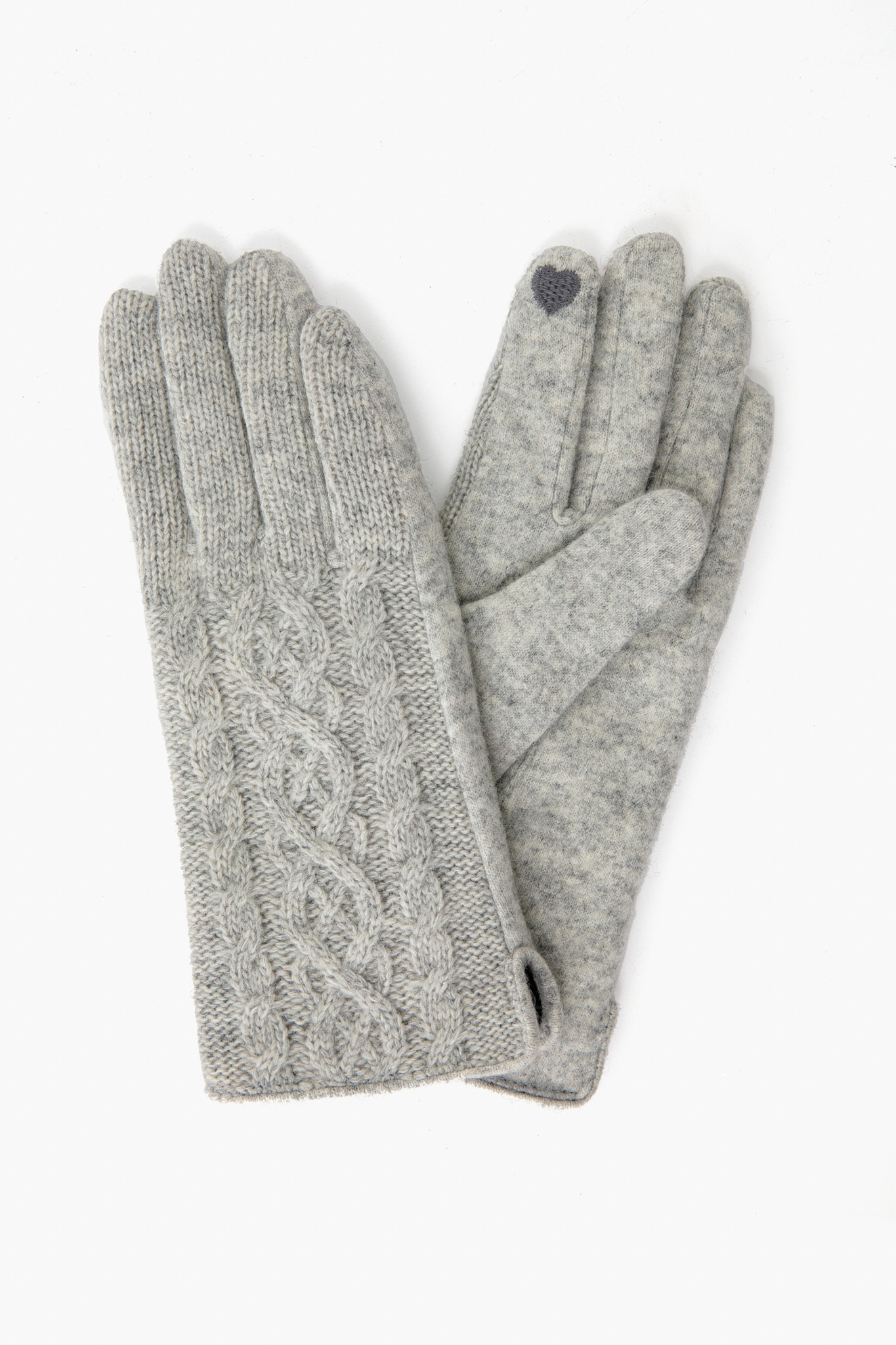 Gray Knit Tech Gloves