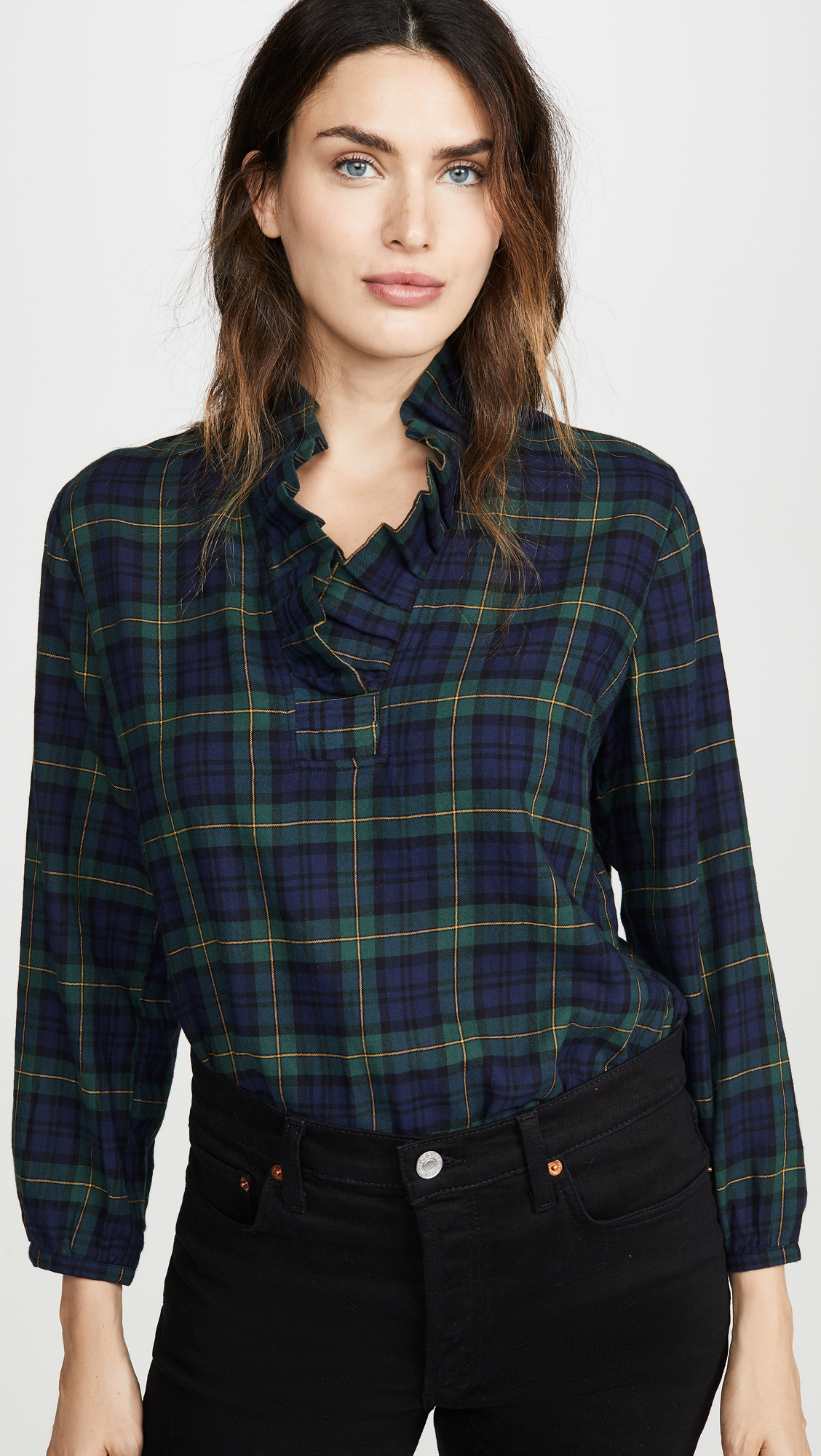 Green and Navy Blackwatch Plaid Blouse