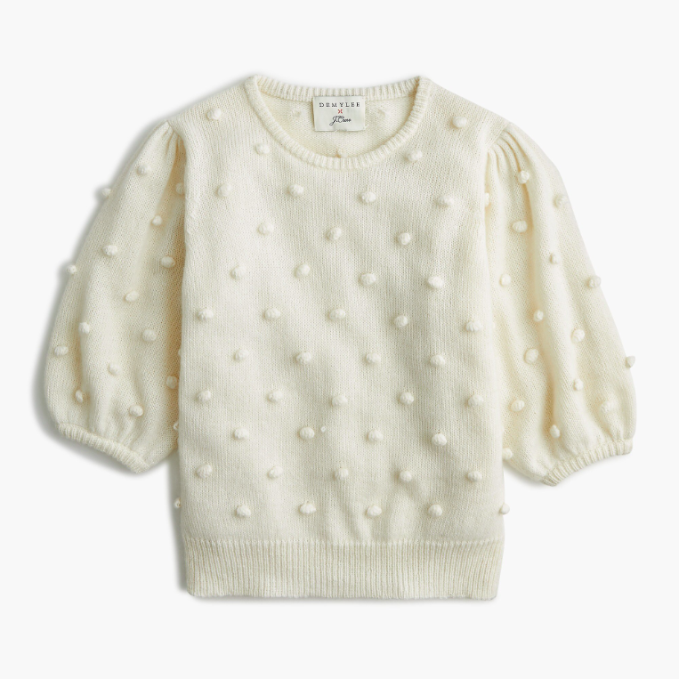 Ivory Puff-Sleeve Pom-Pom Sweater