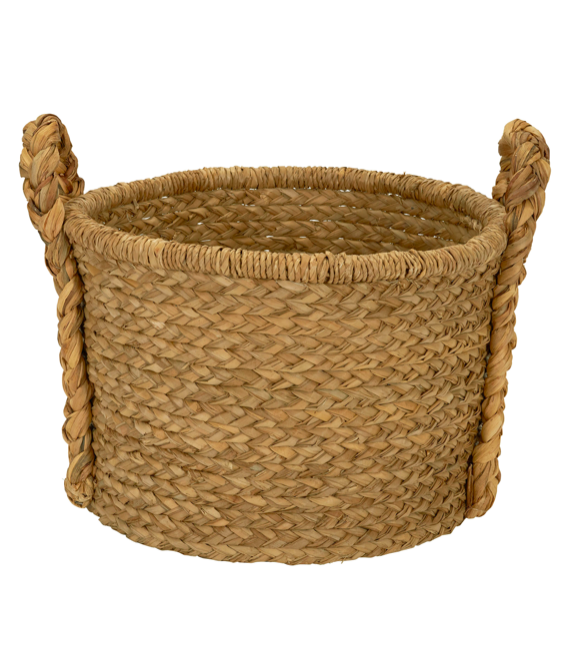 Large Wicker Floor Basket with Braided Handle