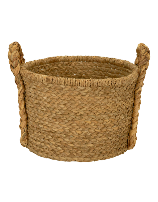 Large Wicker Floor Basket with Braided Handles