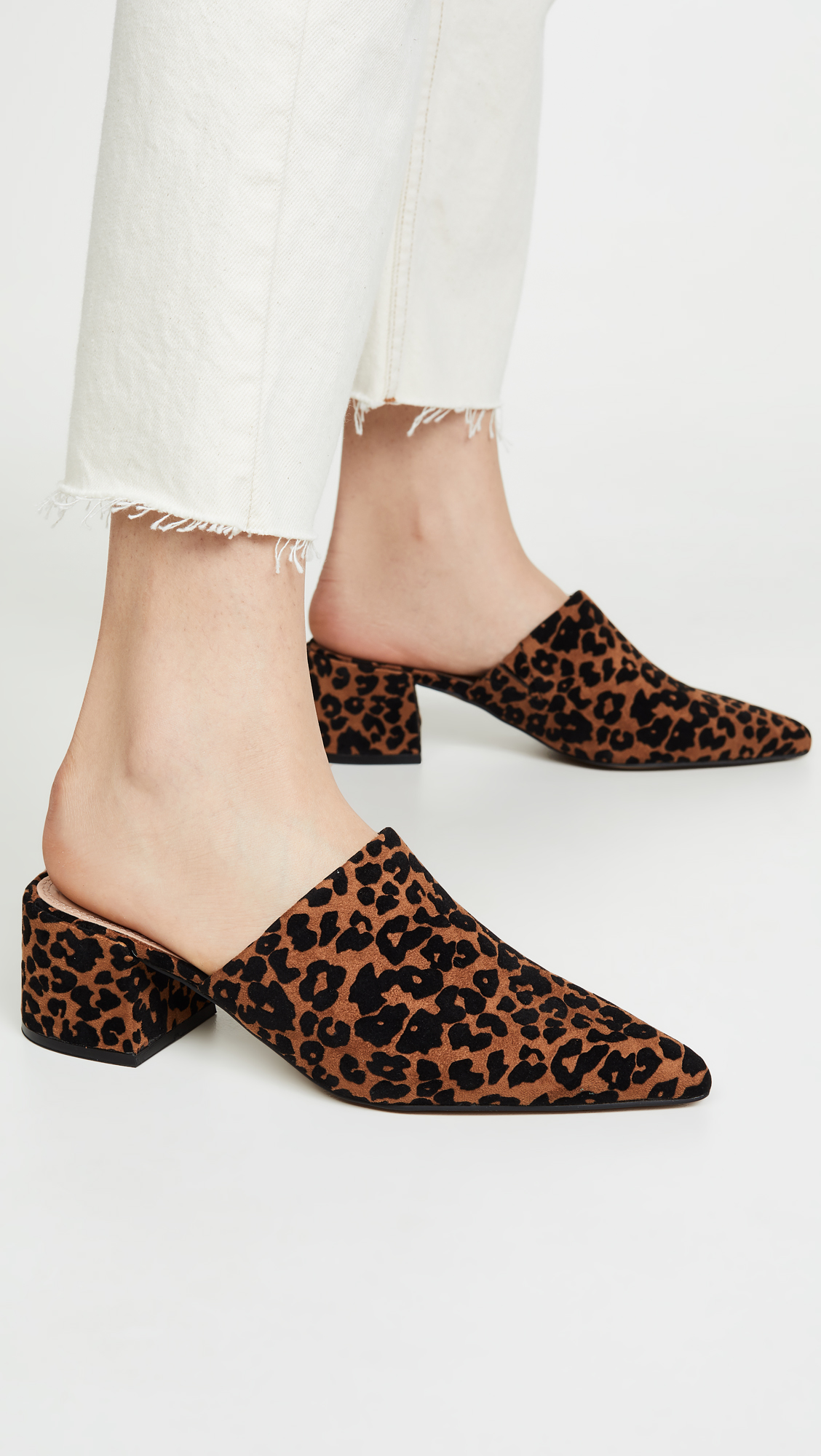 Leopard Print Pointed Toe Mules