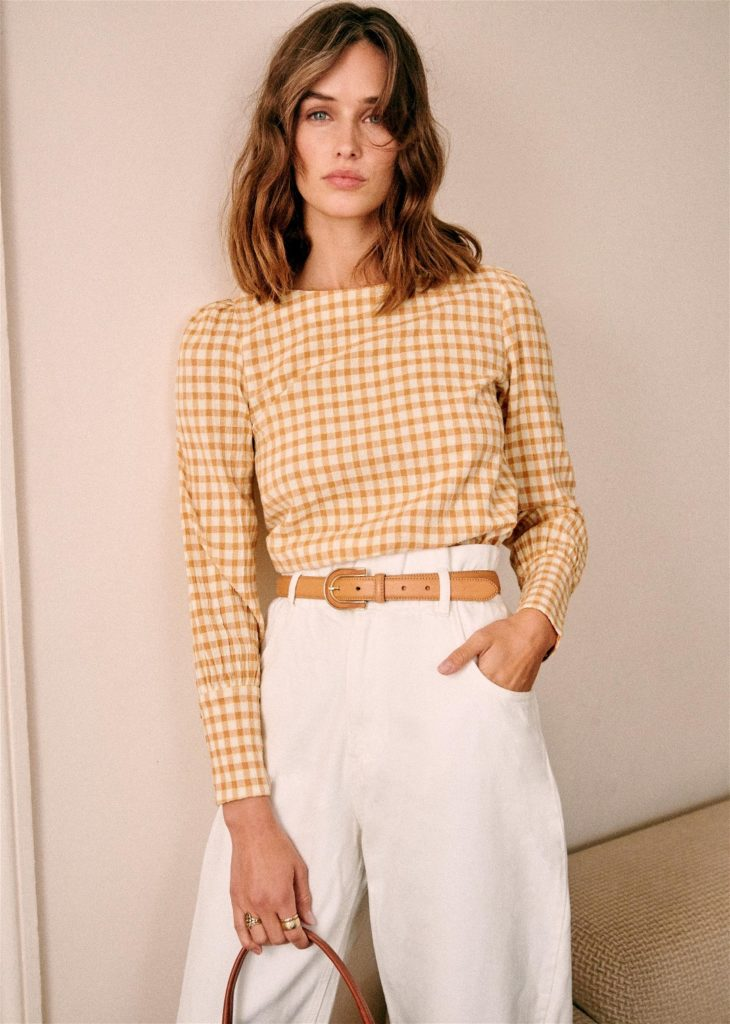 Lina Yellow Gingham Blouse Sezane