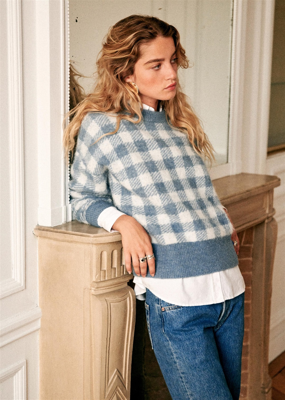 Blue Gingham Sweater
