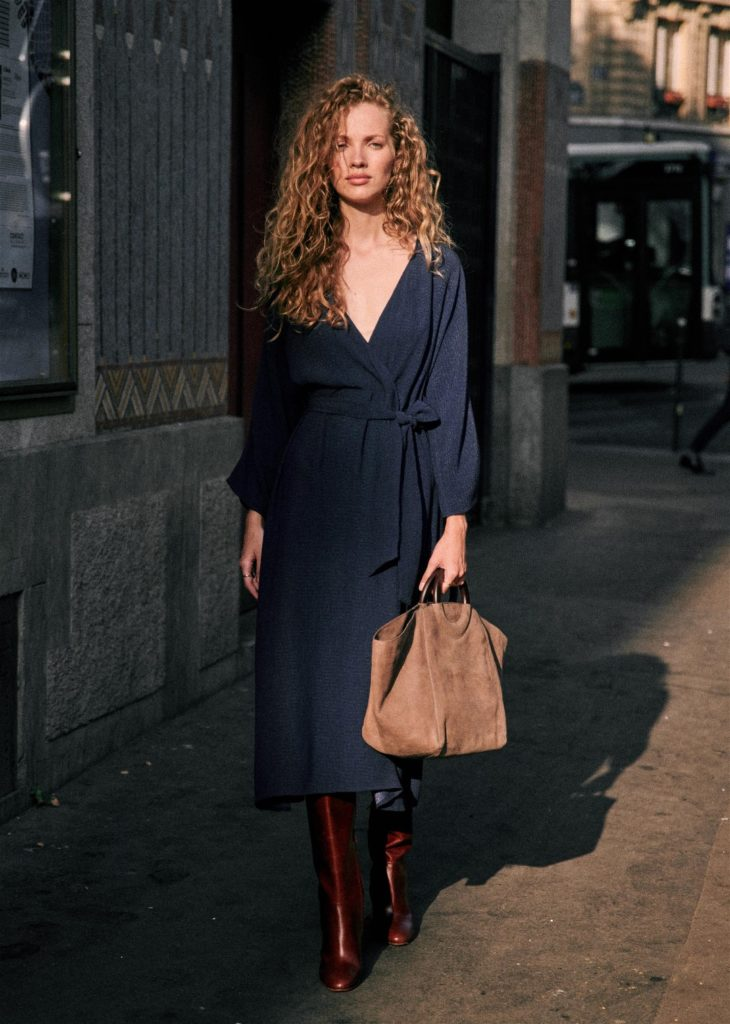 Lora Wrap Dress Navy Sezane Paris