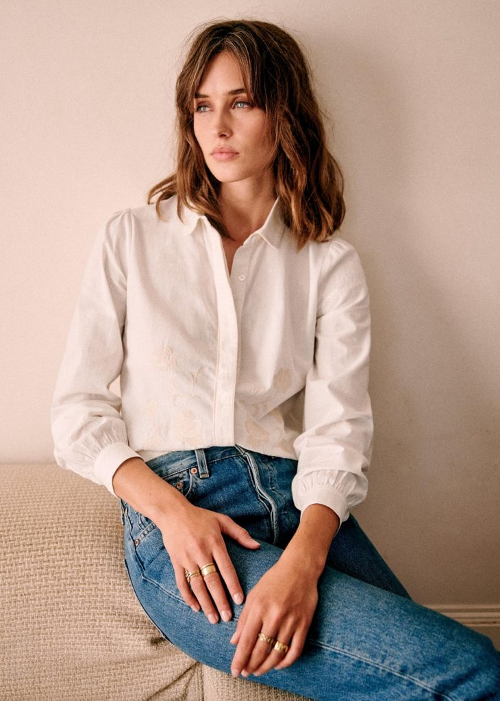 Monica Shirt with Floral Embroidery Sezane Paris