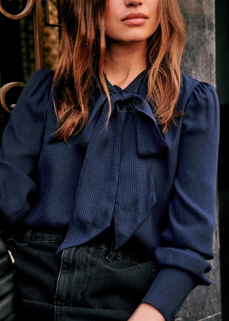 Navy Tie Neck Bow Blouse Sezane Paris