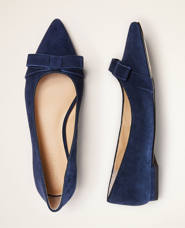 The Daily Hunt: Navy Suede Bow Flats and More!