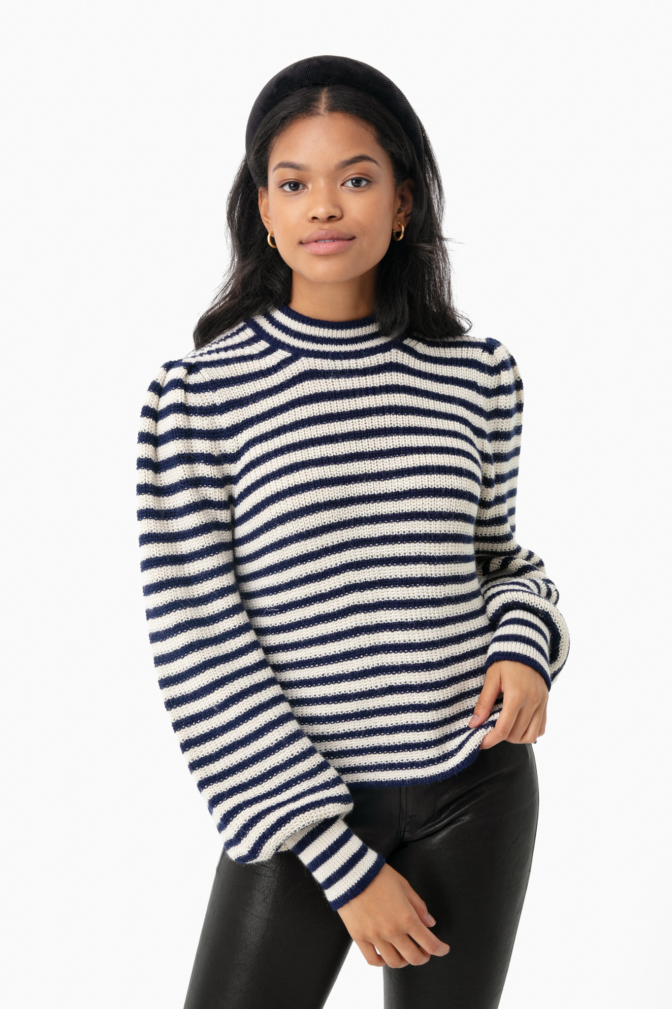 Navy and White Striped Ballon Sleeve Sweater