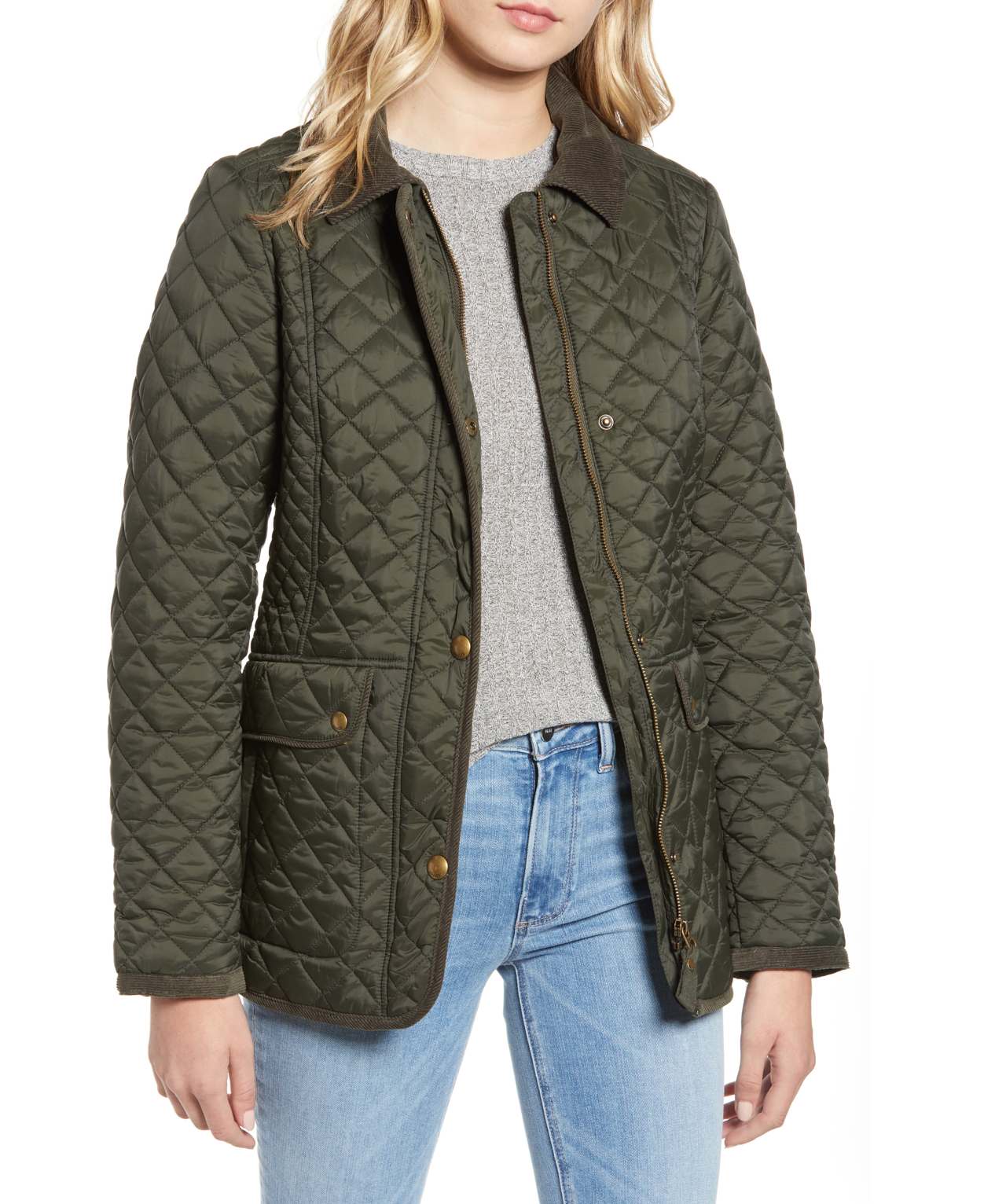 Quilted Corduroy Collar Coat