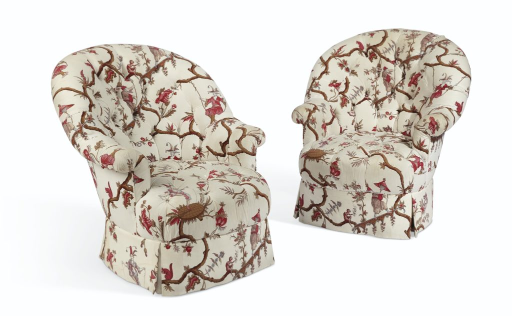 Lee Radziwill Auction Christie's Pair of Button-Tufted Armchairs