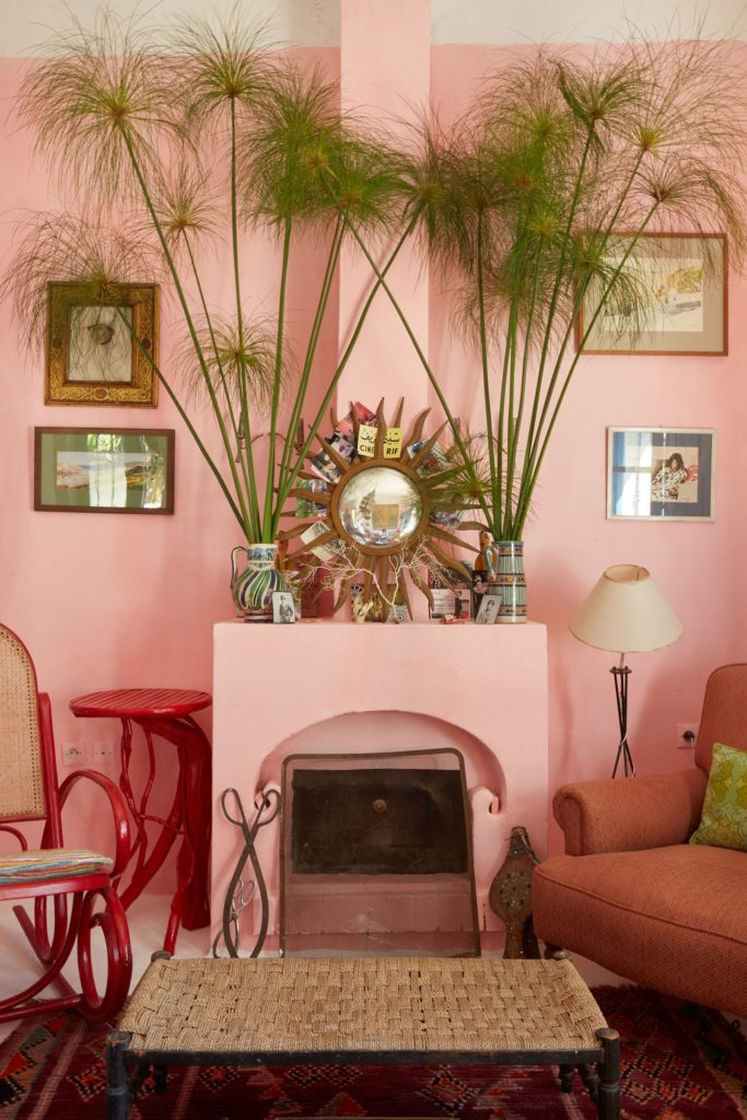 The chalk-pink living room in Sarah Wheeler's Lalla Yenou, Tangier, Morocco.