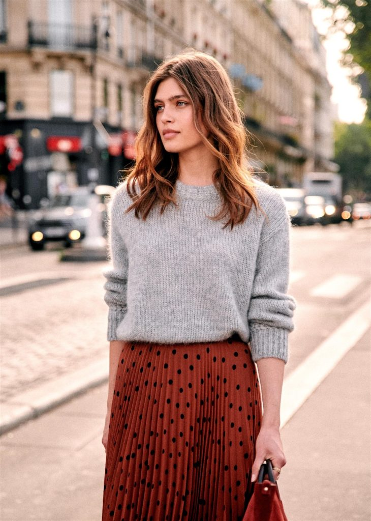 Polka Dot Pleated Skirt with Grey Knit Sweater