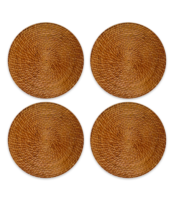 Round Rattan chargers