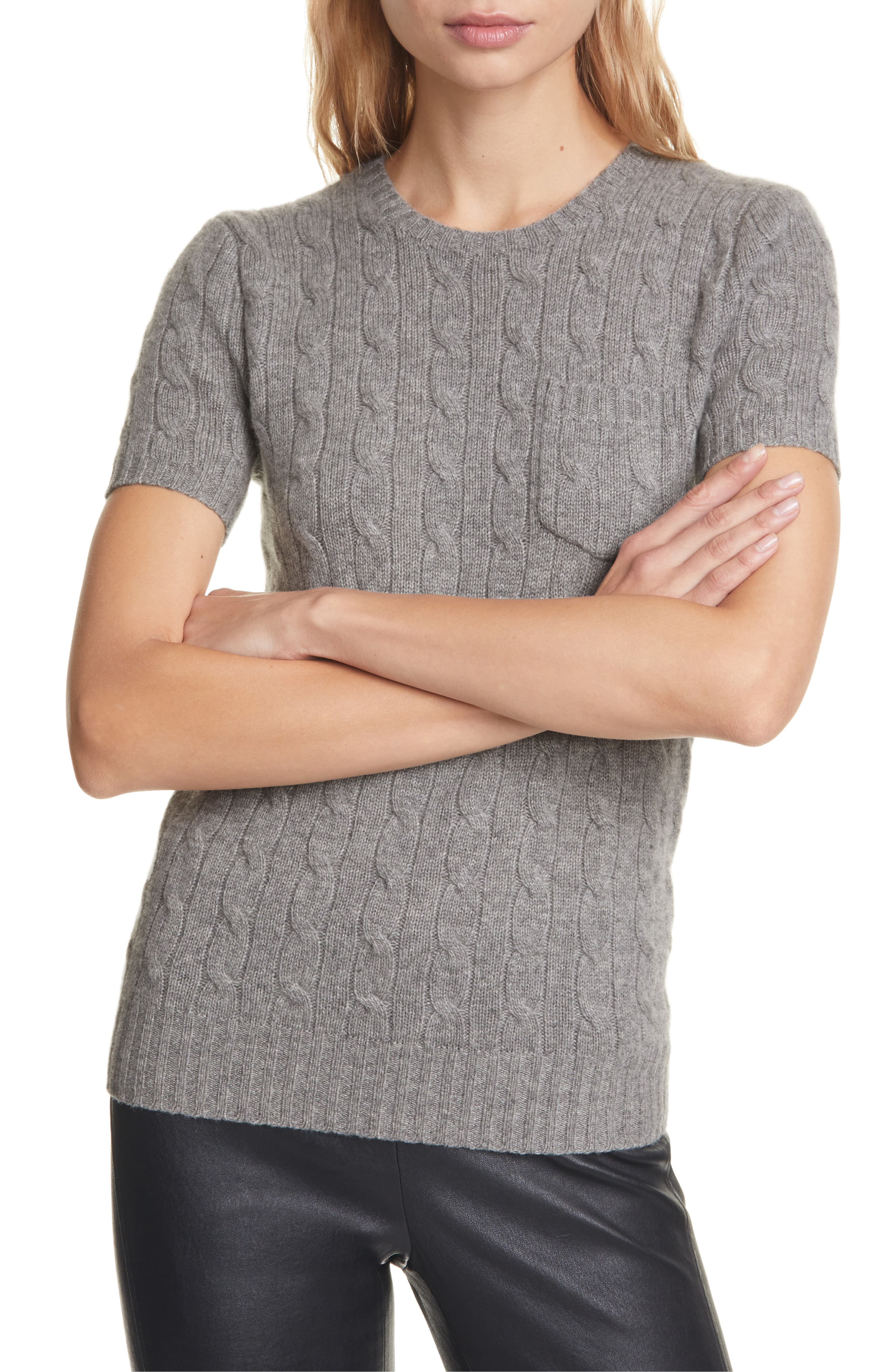 Short Sleeve Cable Knit Sweater