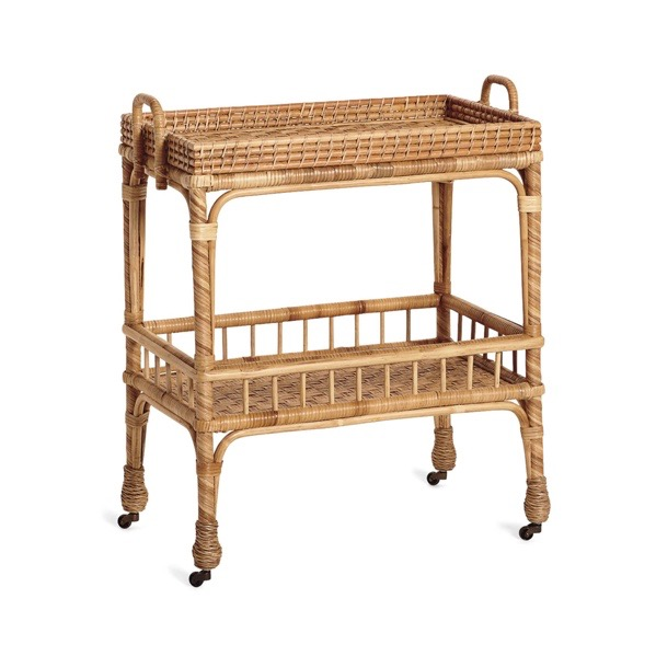 South Seas Rattan Woven Bar Cart Serena and Lily