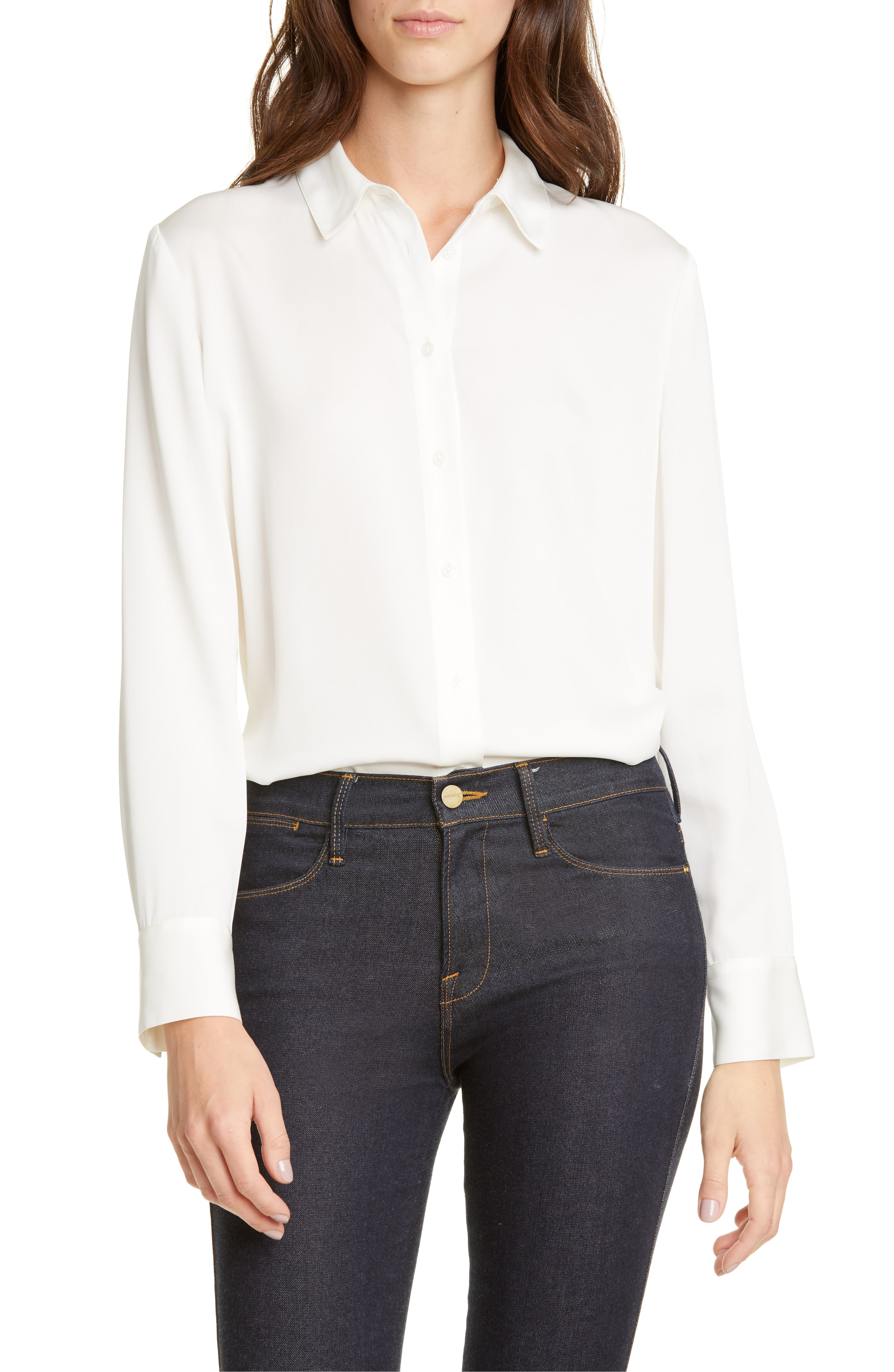 White Silk Button Up Top