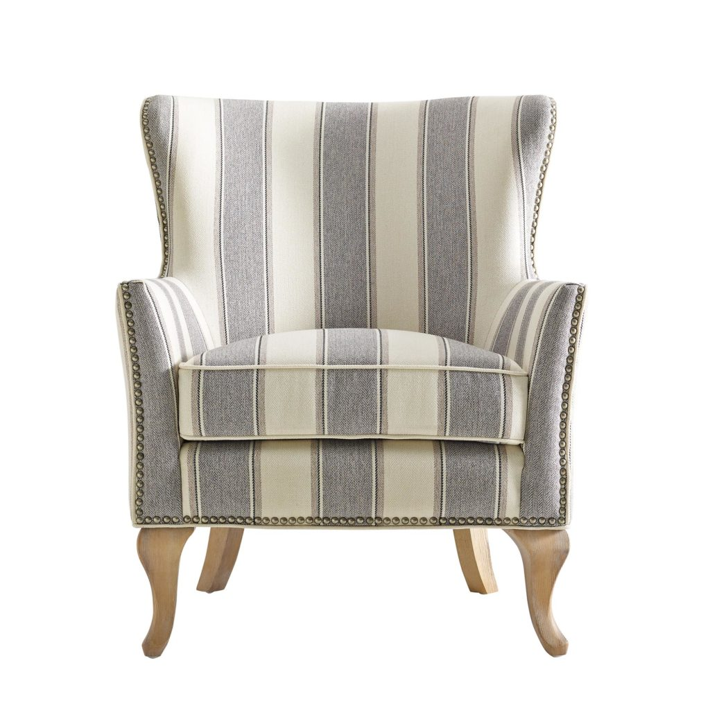 Striped Accent Chair with Nailhead Trim